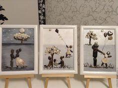 Купить картины из морской гальки Семейный триптих - чёрно-белый, картина, картина из камня