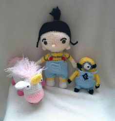 Despicable Me Set of 3 Agnus, Fluffy Unicorn, and Dave the Minion