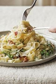 "Ina Garten: Pasta with Gorgonzola & Prosciutto (""straw and hay with Gorgonzola)"