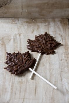 #Chocolate leaf lollipops by Little Cook