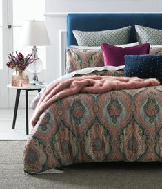 Evocative of traditional pattern, the Cinar quilt cover will add a touch of exotic beauty to your bedroom. Printed on 360 thread count cotton sateen for a luxurious lustre and feel, this distinctive design is finished with a luxe velvet piping trim. Double Quilt, Cotton House, Single Quilt, Cover Style, Bedroom Styles, Bedroom Ideas, Bedroom Retreat, Bed Linen Design, House Quilts
