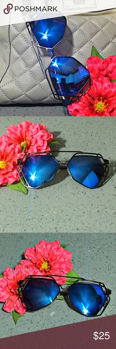 Black Hexagon Aviators Blue Mirrored Lens Sunnies ⭐️⭐️⭐️TOP RATED SELLER⭐️⭐️⭐️ Black Frame Metal Hexagon Geometric Aviator Sunglasses with Blue Mirrored Lens. Ready for Summer! Fashion personality design, a popular item. Light weight for superior comfort,perfect for both performance use or personal use. Provides UV 400 protection, which blocks all UVA and UVB light rays.  Frame Size Lens Width - 2.25 inches (57mm) Frame Height - 2.25 inches (57mm) Bridge Width - 1 inch (25mm) Arm Length -…