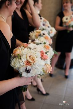 Peach Rose & Anemone Bouquets -- On http://www.StyleMePretty.com/maryland-weddings/2014/04/08/elegant-winter-wedding-at-antrim-1844-country-house-hotel/  #smp -- ReadyLuck.com