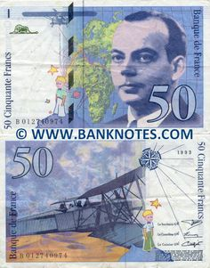France 50 Francs 1993  Le Petit Prince (Little Prince); Portrait of Antoine de Saint-Exupéry (full name - Antoine Jean-Baptiste Marie Roger de Saint Exupéry) - French writer and aviator born in Lyon in 1900, disappeared in an air mission July 31, 1944 off Corsica; Map of Europe and Africa where we distinguish the route of two journeys made by the aviator; Aircraft; Fluorescent silhouette of a goatling;.