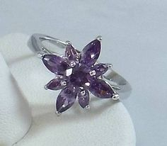 Ladies Amethyst CZ Silver Ring~18K White Gold Overlay Size 7 1/2-Free Gift Box