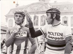 Roger De Vlaeminck (rode for Brooklyn 73-77) and Eddy Merckx (rode for Molteni 71-76).  The coolest dudes in cycling with iconic jerseys!