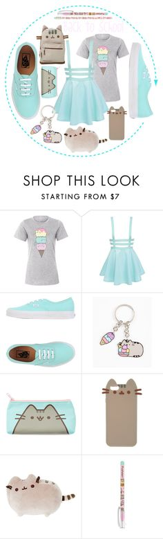 """#PVxPusheen"" by amygaga ❤ liked on Polyvore featuring Pusheen, Vans, contestentry and PVxPusheen"