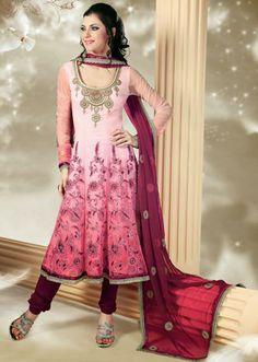 USD 95.69 Pink Resham Work Net Anarkali Salwar Kameez 30643
