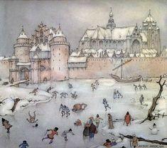 Anton Pieck- Brueghel en Vermeer klinken op de achtergrond. De stedelijke contouren minder behaagziek.