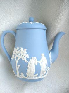 Wedgwood White on Blue Jasper Large Full Size Coffeepot