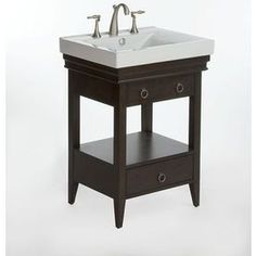 """allen   roth�Idylwood 25-in x 20-in Espresso 1 Bathroom Vanity"""" with Vitreous China Top.  570.  White, no faucet."""