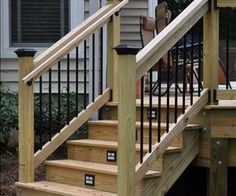 Deck Stair Railings - the hold-on-to railing can be applied to a more traditional railing