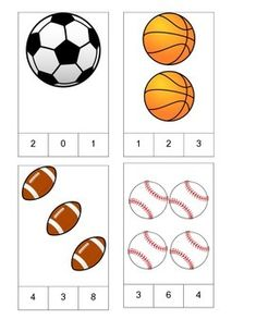 Sports Theme Count and Clip Cards! by PreK Printables Shop Summer Sports Crafts, Summer Crafts For Toddlers, Sport Craft, Sports Activities For Kids, Work Activities, Preschool Learning, Preschool Activities, Teaching, Montessori