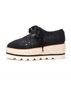 Patch Lace Banding Flange Womens Platform Shoes