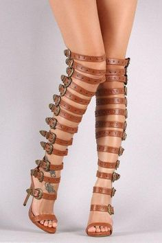 New Design Women Fashion Open Toe Buckle Design Over Knee Gladiator Boots Cut-out Luxury High Heel Sandal Boots Dress Shoes Thigh High Gladiator Heels, Gladiator Boots, High Heel Boots, Heeled Boots, High Heels, High Sandals, Boot Heels, Heeled Sandals, Nylons