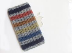 iPhone 5 iTouch 5 Case Cover Hand Knit in Wool  Blue by downgirl