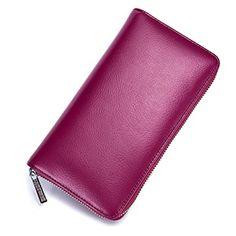 ee16c908a976 Genuine Leather RFID Men Women Zipper Card Holder Long Wallet(36 Card Slot)