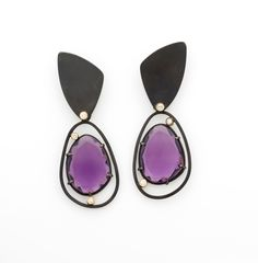 Oxidised silver earrings with amethysts and diamonds. One off piece - Daphne Krinos