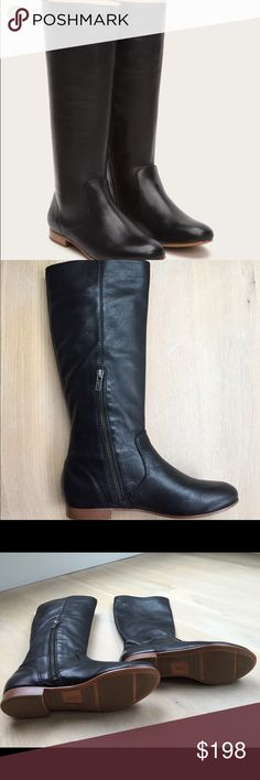 Frye Jillian boot Brand new with tags and box- rich leather, black flat, pull-on boots. Inside zip. Perfect with any style. Frye Shoes