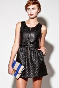 Black Vegan Quilted Leather Mini Dress + Belt http://thriftedandmodern.com/black-vegan-quilted-leather-dress
