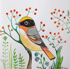 Items similar to Bird with red Berries Original Art - Wall Art - Room Decor - Woodland - watercolor painting on Etsy Fabric Painting, Watercolor Paintings, Painting Art, Animal Drawings, Art Drawings, Nursery Wall Art, Nursery Decor, Room Decor, Bird Design