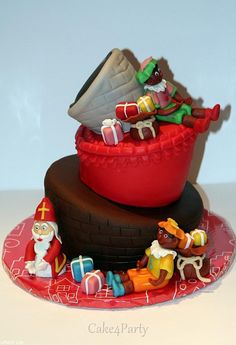 Topsy Turvy taart voor Sinterklaas met speculaaskruiden en creme