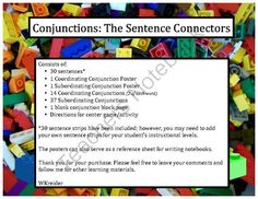 Conjunctions on Pinterest | Complex Sentences, Sentences and ...
