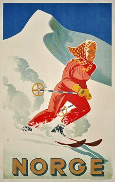 Norge designed by Nielsen, Erling Vintage Ski Posters, Retro Poster, Ski Decor, Plakat Design, Vintage Winter, Vintage Photos, Vintage Art, Vintage Advertisements, Hawaii Beach