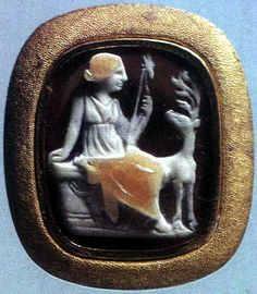 Roman cameo of Sardonyx cameo of Artemis with deer. Hermitage Museum.