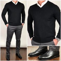 Let's start the week with some black and gray ◼️🗄.there will be plenty of time for lighter colors❗️And maybe warmer temps will be here to stay soon too❗️😎🔲 Do you like this outfit❓ Shoes: Black Broadway Pants, sweater, shirt: Mens Fashion Wear, Fashion Mode, Suit Fashion, Daily Fashion, Fashion Clothes, Style Fashion, Formal Men Outfit, Herren Outfit, Stylish Mens Outfits