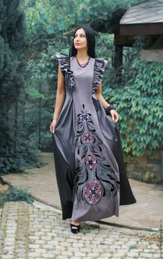 Dresses handmade. Order Unique embroidered dress 'Forest nymph' hand stitch. KVITKA. Livemaster. Embroidered dress Modest Fashion, Boho Fashion, Fashion Dresses, Fashion Looks, Hijab Fashion, Kurti Neck Designs, Dress Neck Designs, Kurti Embroidery Design, Indian Gowns Dresses