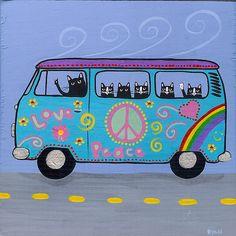 Ryan Conners' Cat Folk Art: VW Hippie Bus