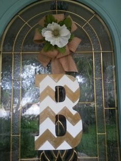 """Chevron Front Door Wreath...antiqued gold and white...For a sis-in-law who is """"golden""""!"""