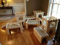 Bunny castle - This would be perfect for my new Guinea Pig Room, except I would use Linoleum instead of carpet.