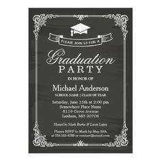 Classy Chalkboard Frame Modern Graduation Party 5x7 Paper Invitation Card