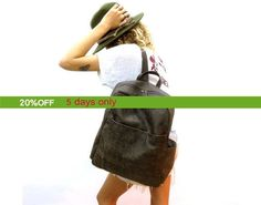Sale  11 13 15 Leather laptop backpack Grey leather