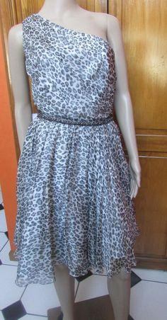 ABS by Allen Schwartz Animal Print Cocktail Dress Size 10 100% Silk NWT #ABSbyAllenSchwartz #OneShoulder #Cocktail