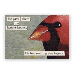 Heebie Jeebies Magnet Bird Cardinal Gift by MincingMockingbird