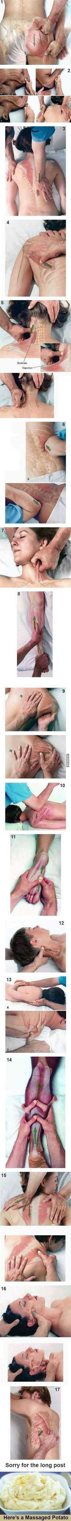 This is a post for a massage tutorial. Every point that is shown, every placement of their hand is EVERY point of fibromyalgia chronic pain. Massage doesn't work for me because of this.