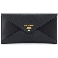 Prada Leather Wallet (1.295 BRL) ❤ liked on Polyvore featuring bags, wallets, black, wallets & cases, 100 leather wallet, genuine leather bags, leather wallets, prada bags and real leather wallets