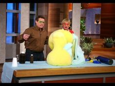 Steve Spangler's first appearance on the Ellen DeGeneres Show. Featured science demos: Reverse Helium (SF6), Elephant's Toothpaste, Trash Can Smoke Rings.    About Steve Spangler Science...    Steve Spangler is a celebrity teacher, science toy designer, speaker, author and an Emmy award-winning television personality. Spangler is probably best k...