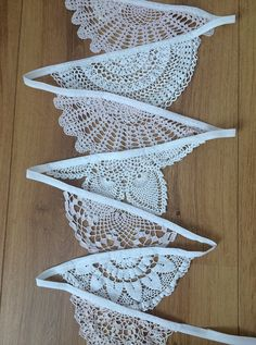 Vintage Pink White Crochet Doily Bunting Wedding by eclecticminx