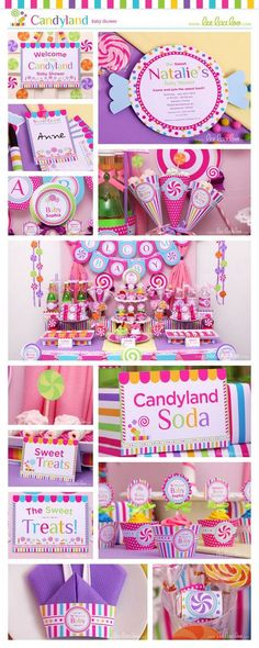 Best Baby Shower Ideas For Girls Themes Candyland Candy Party Ideas Candy Themed Party, Candy Land Theme, Candy Land Party, First Birthday Parties, Birthday Party Themes, First Birthdays, Birthday Ideas, Baby Shower Candy, Baby Girl Shower Themes
