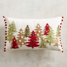 Merrily & Bright Pompom Trees Lumbar Pillow : Bring the Christmas tree farm to you with our holiday pillow. Accented by colorful pompoms, it's a decorative pillow that boosts the energy and festivity in any space. Christmas Rugs, Bohemian Christmas, Christmas Cushions, Christmas Pillow, Christmas Time, Christmas Sewing Projects, Christmas Crafts, Christmas Decorations, Christmas Ornaments