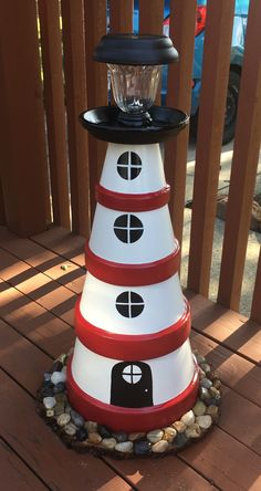 Clay pot lighthouse Tontopf Leuchtturm Clay pot lighthouse To. - Clay pot lighthouse Tontopf Leuchtturm Clay pot lighthouse To… - Clay Pot Projects, Clay Pot Crafts, Diy And Crafts, Diy Clay, Decor Crafts, Pots D'argile, Clay Pots, Clay Flower Pots, Garden Crafts