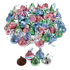 Hershey's® Pastel Kisses®. Sweet Hershey's® Kisses® in pastel wrappers that are perfect for springtime! Add them to Easter baskets or put them in May Day baskets! Individually foil-wrapped. (Approx. 54 pcs. per unit, 11 oz.)