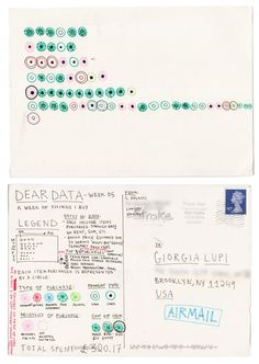 Dear Data | Hand drawn data visualisation | http://www.designweek.co.uk/issues/30-march-5-april-2015/getting-to-know-you-through-data-visualisation-a-hand-drawn-project/?cmpid=dwnews_1018600