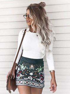 I love the top with this skirt! it's so classic