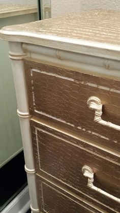 Henry Link Faux Bamboo Bali Hai Credenza Faux finished w/ Artisan Enhancement's Pearl Plaster & Liquid Gold
