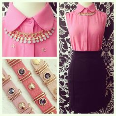 LOOK OF THE DAY: Jewels and beads look great with bubble gum pink! We are obsessed with this simple but seriously cute top!